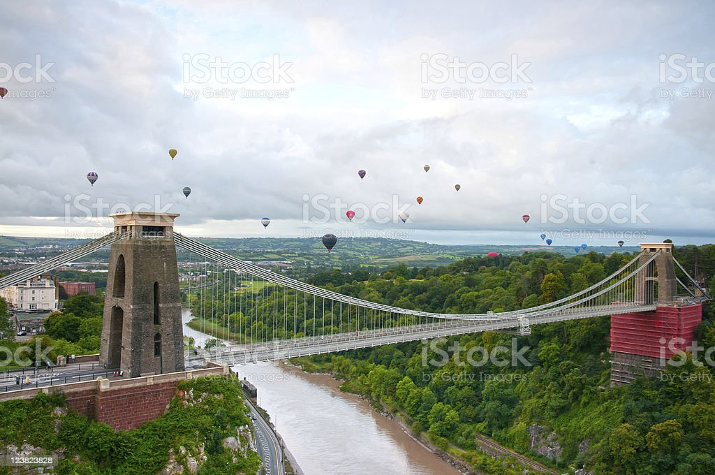 High view of the Clifton suspension bridge stock photo