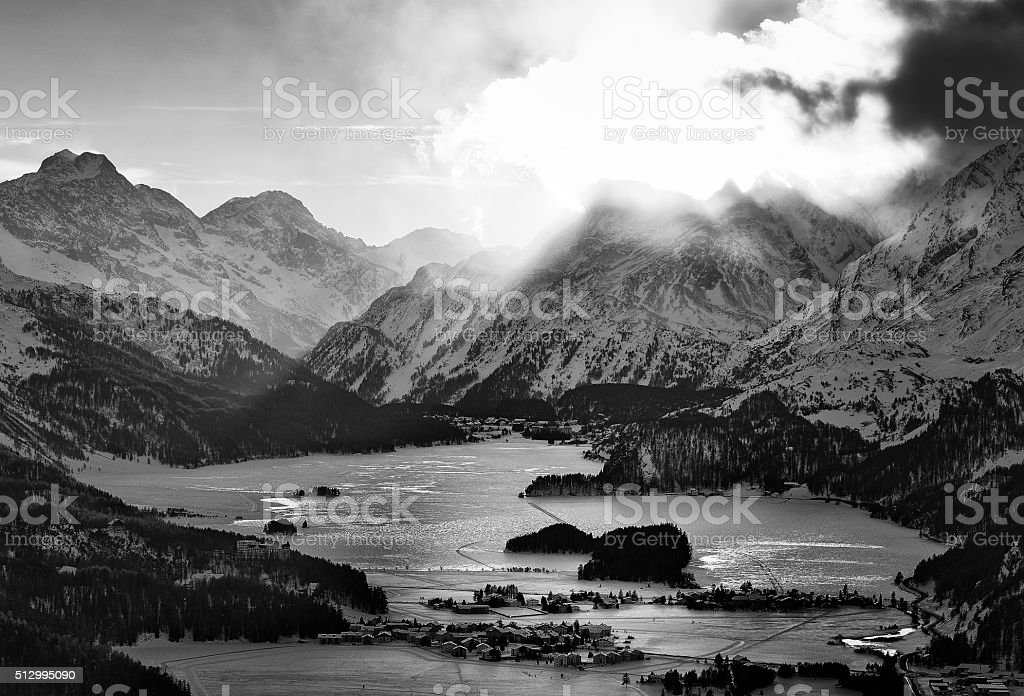 High view of the valley with the Engadin stock photo