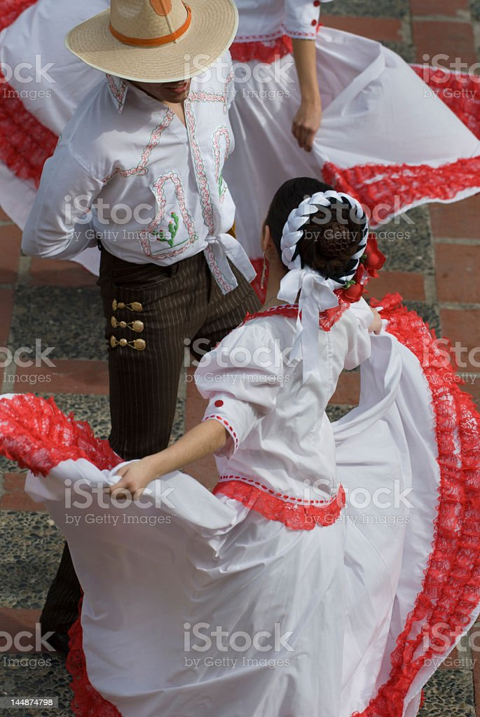 High view of two Mexican dancers stock photo