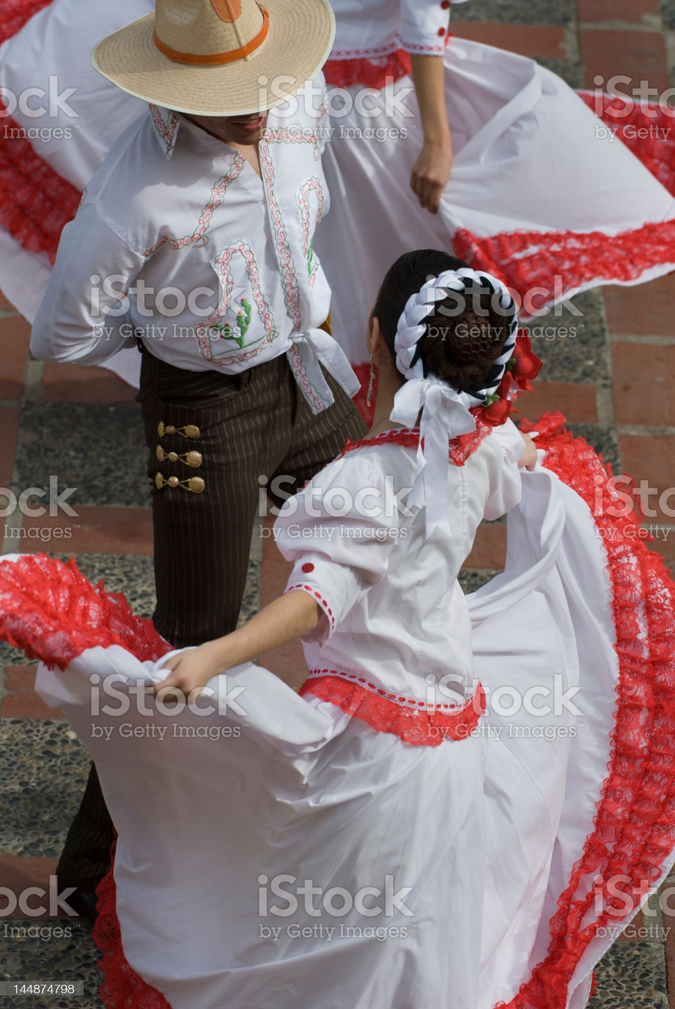 High view of two Mexican dancers royalty-free stock photo