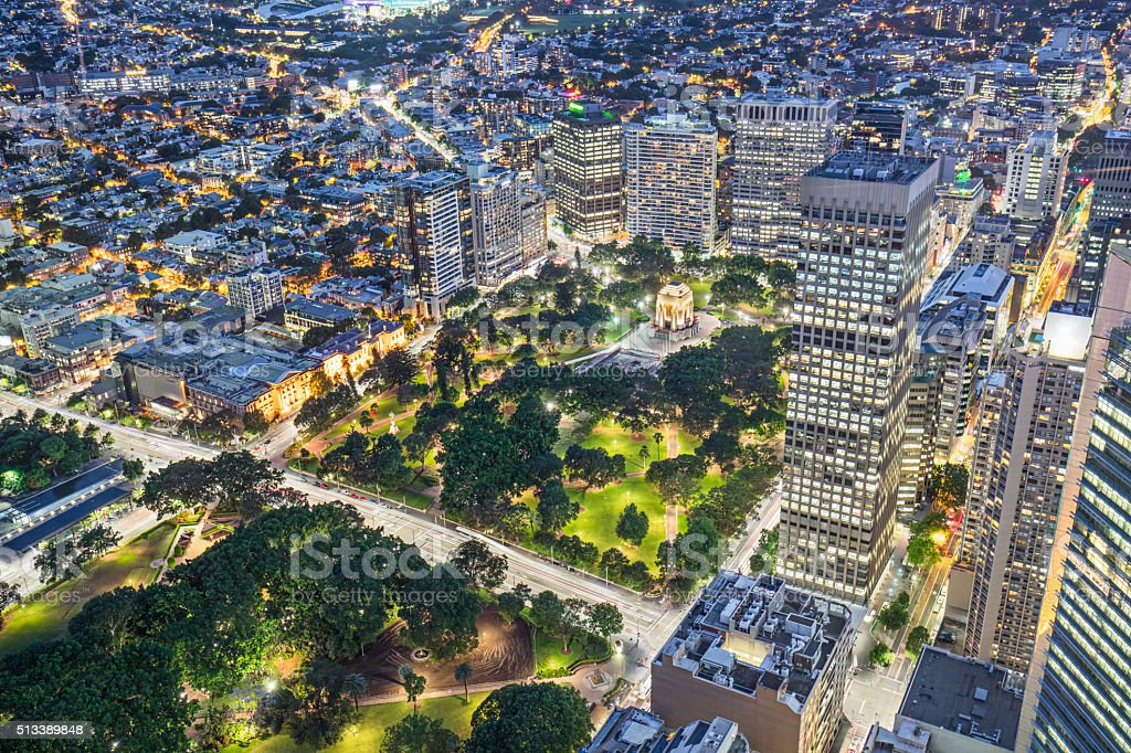 High view to Hyde Park, Sydney at night stock photo
