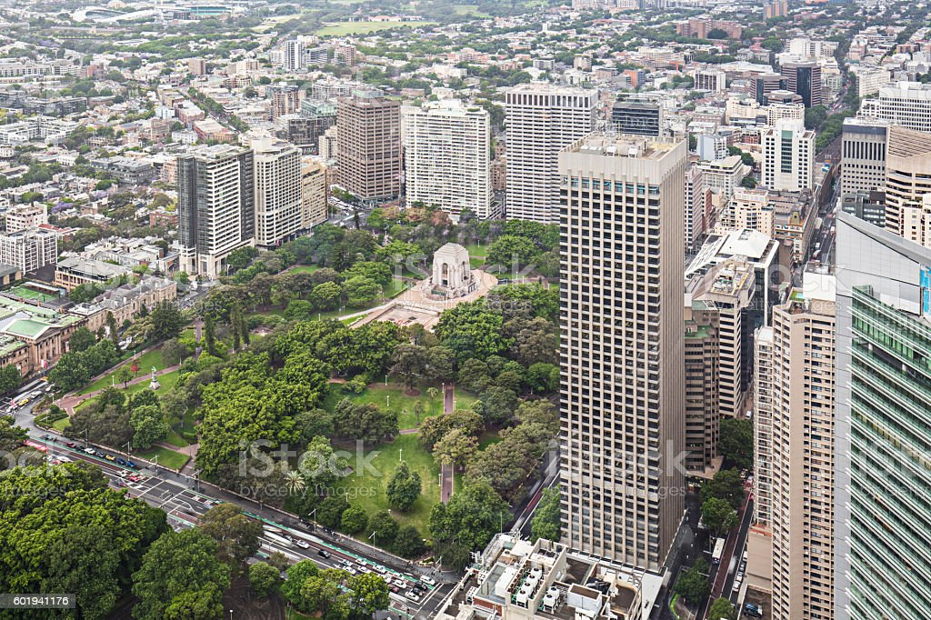 High view to Hyde Park, Sydney stock photo