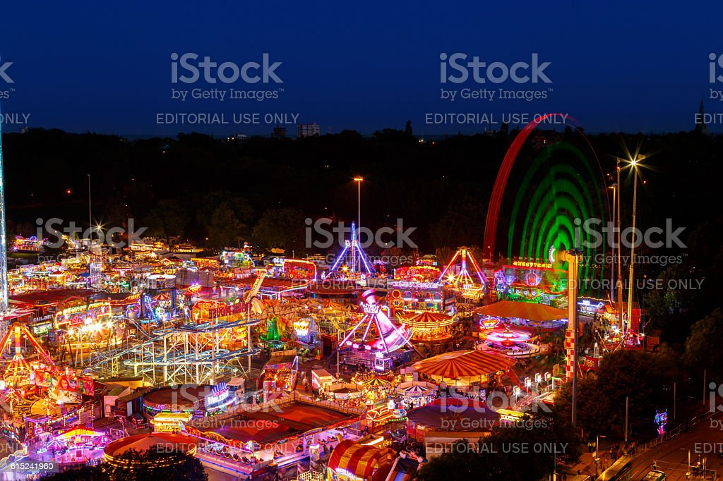 high viewpoint of Goose Fair in Nottingham. stock photo