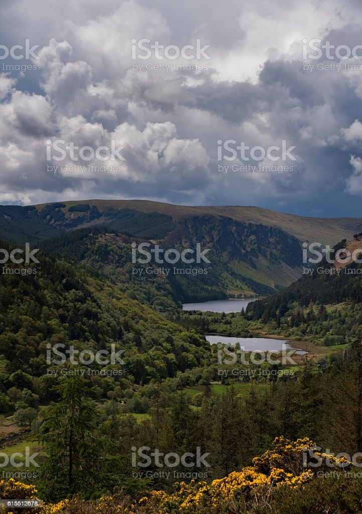 High viewpoint over Glendalough lakes and ancient monastery stock photo