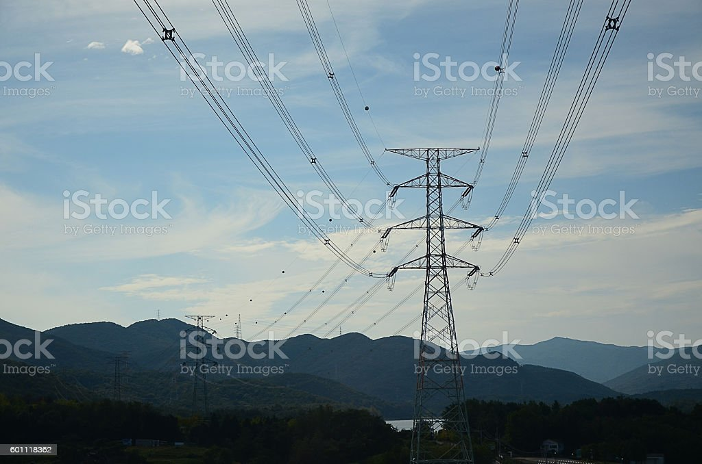high voltage and blue sky: vintage tone stock photo