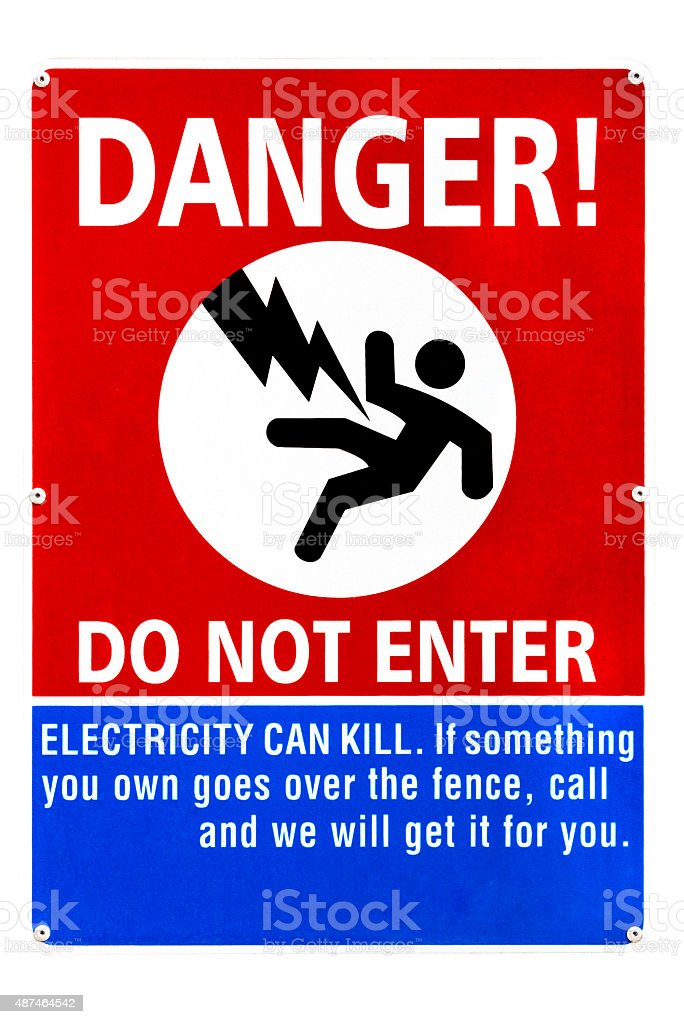 High voltage danger sign isolated on white background stock photo