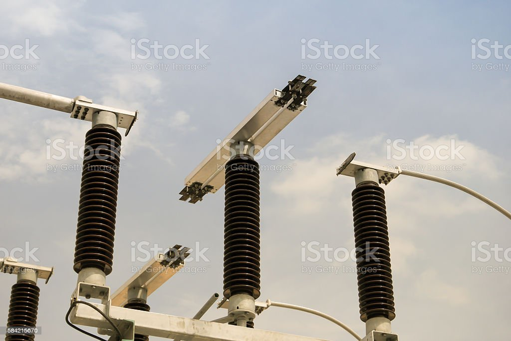 High voltage disconnecting switch in 115 kv sub station. stock photo