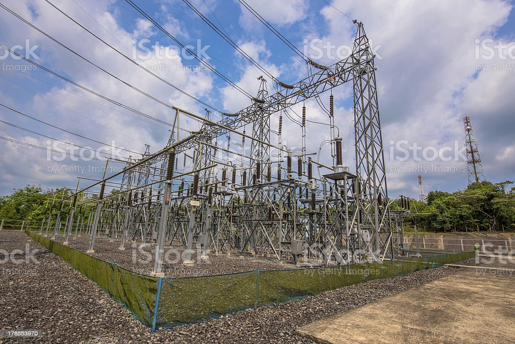 High voltage electric pole at the station royalty-free stock photo