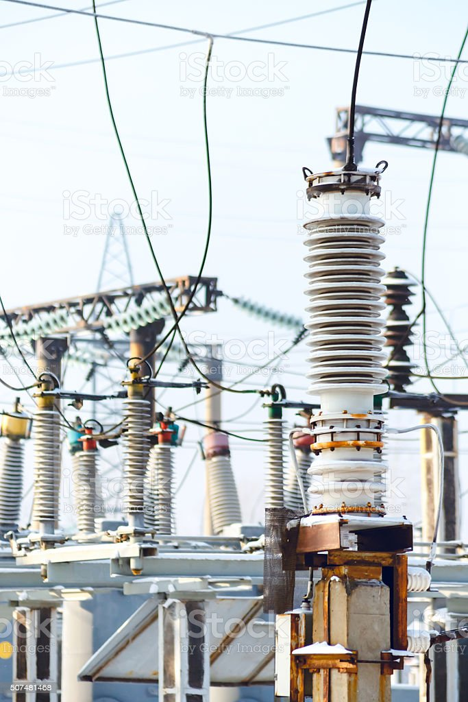 High voltage electric power stock photo