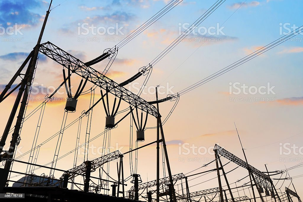 High Voltage electric substation with transformers royalty-free stock photo