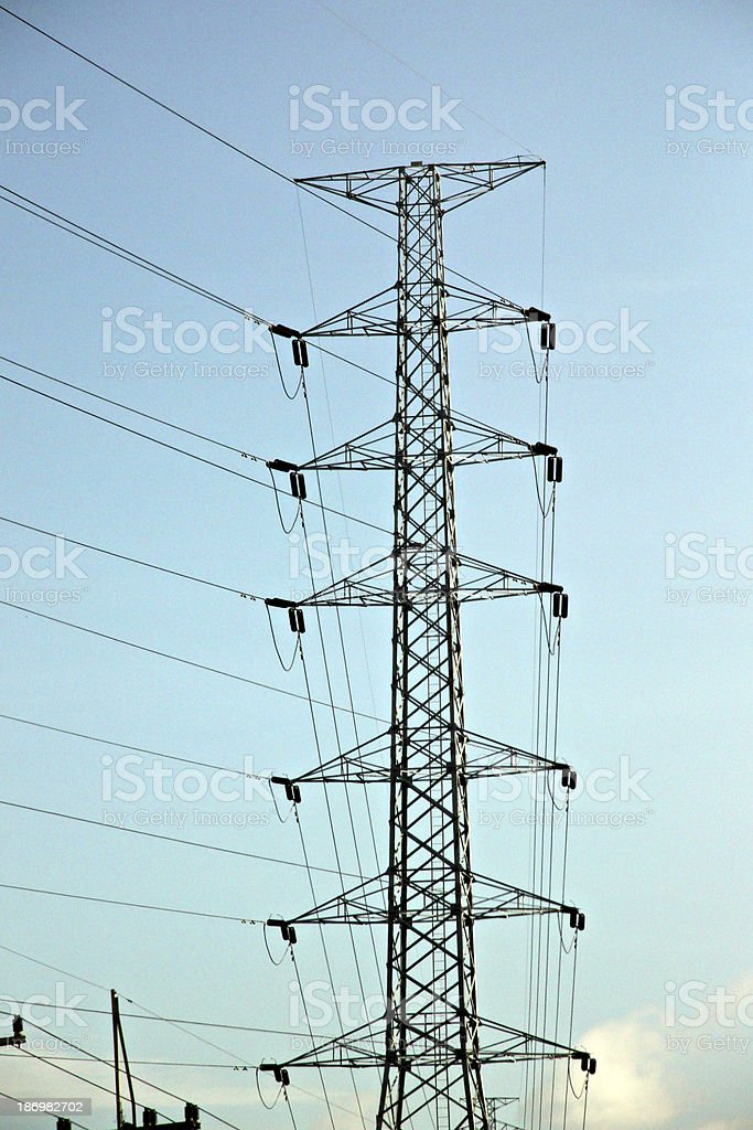 High voltage electrical transmission towers. royalty-free stock photo