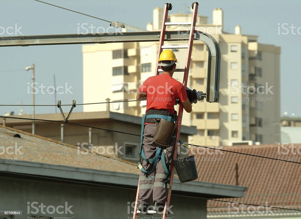 High voltage electrician working in the cables royalty-free stock photo
