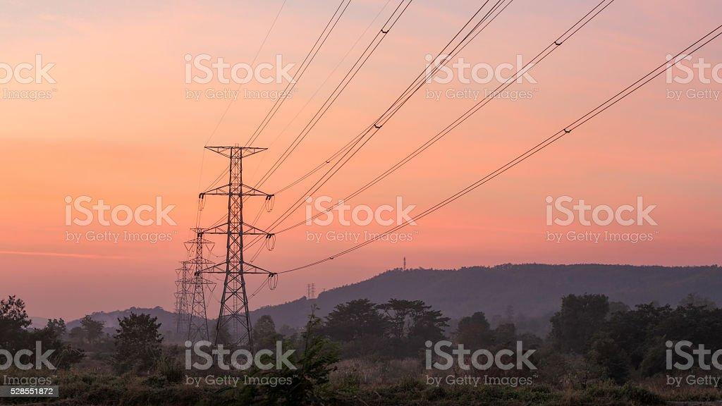 High voltage electricity poles stock photo