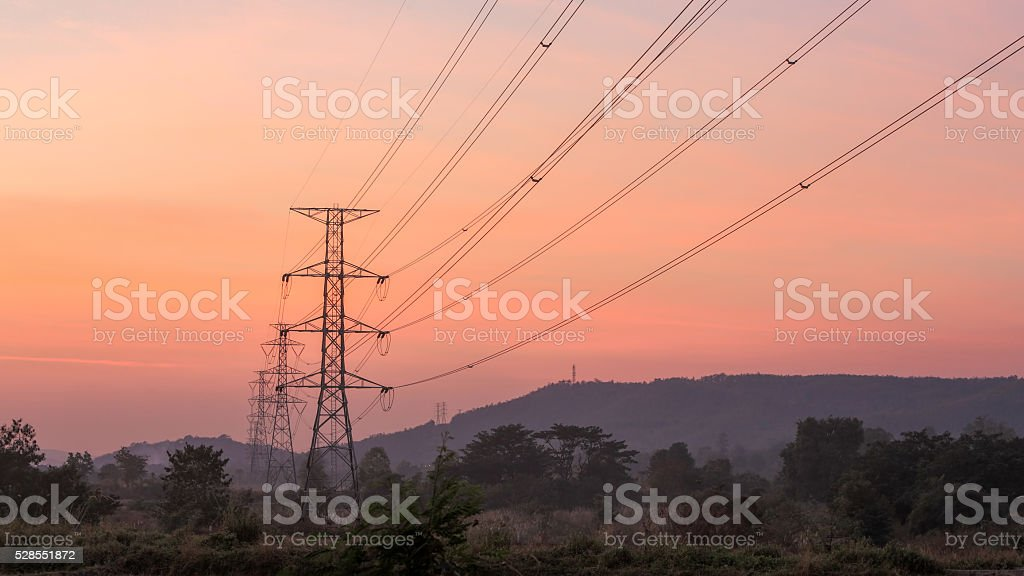 High voltage electricity poles stock photo