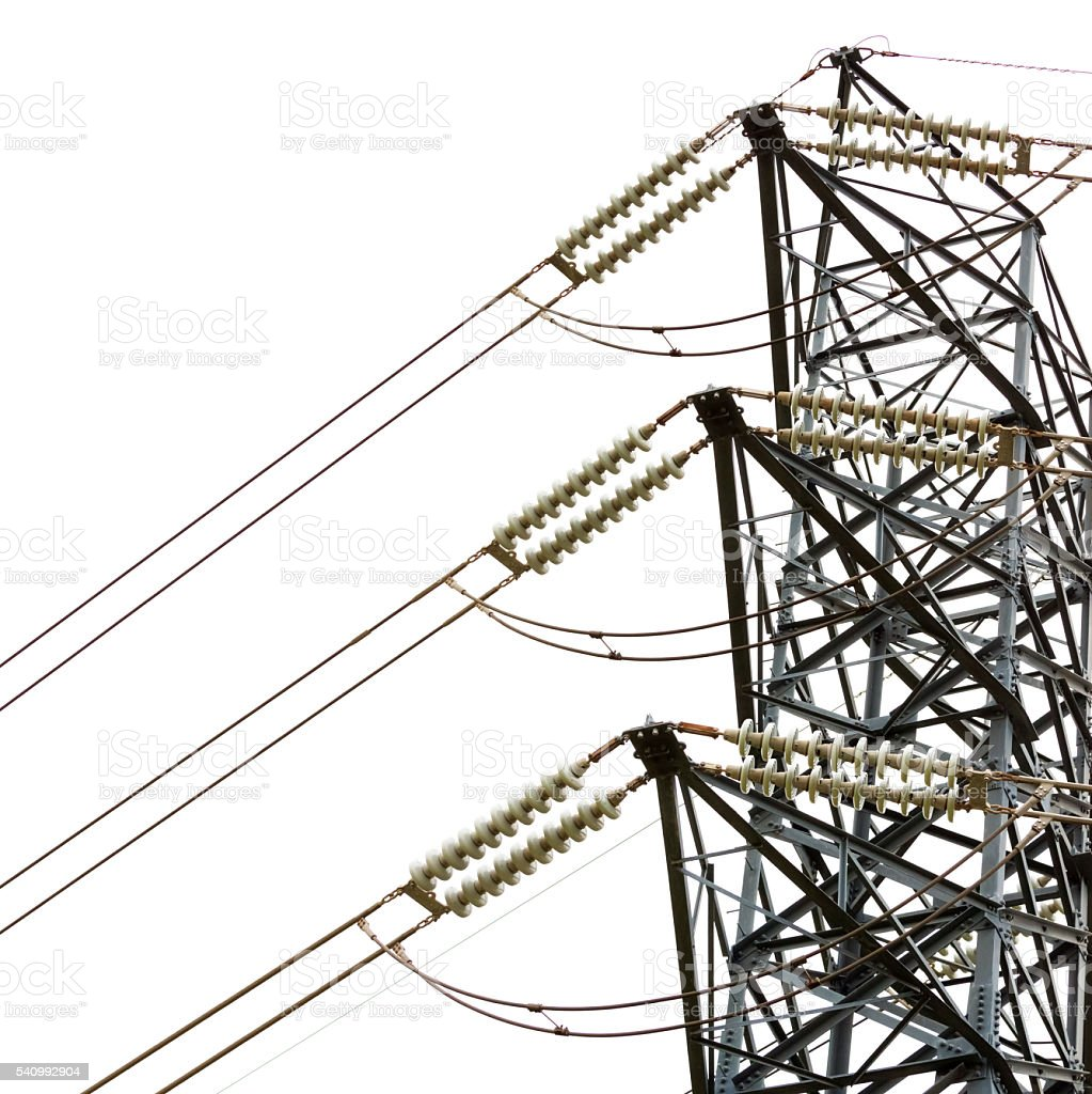 High voltage electricity pylon, against white square background, copy space stock photo
