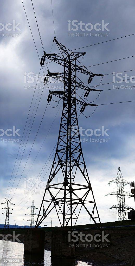 High voltage electricity pylon on a background of sky stock photo