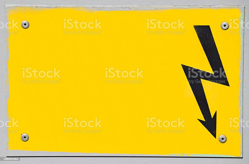 High voltage electricity sign stock photo