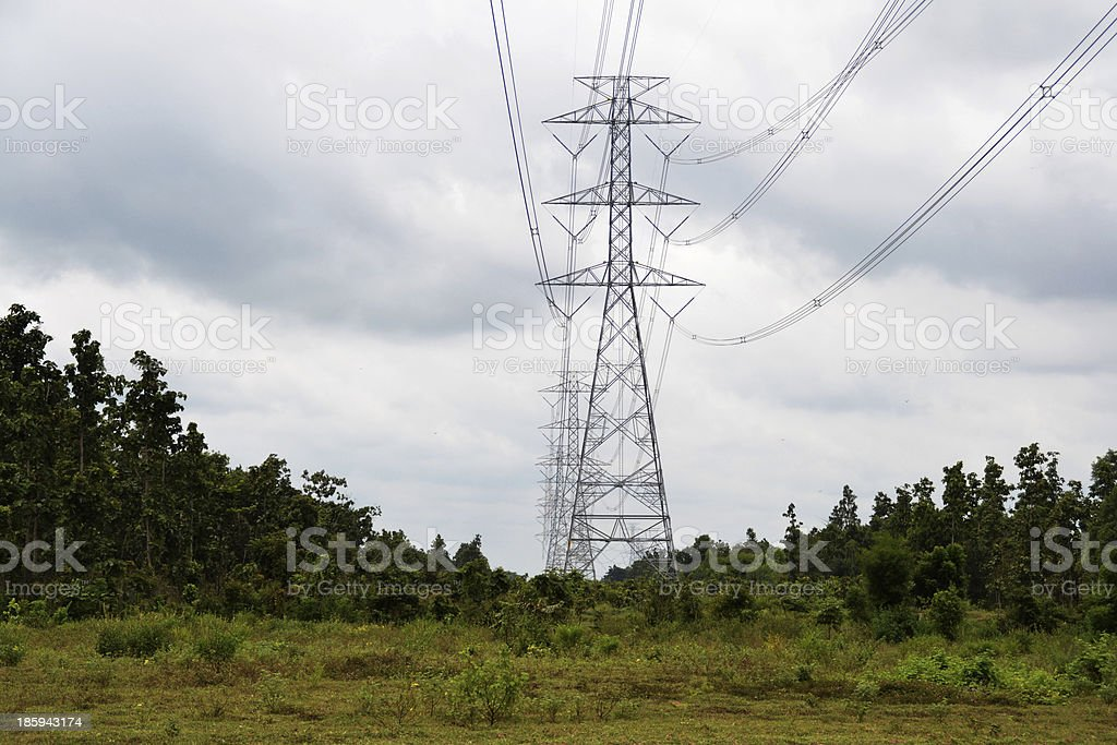 High voltage energy towers royalty-free stock photo