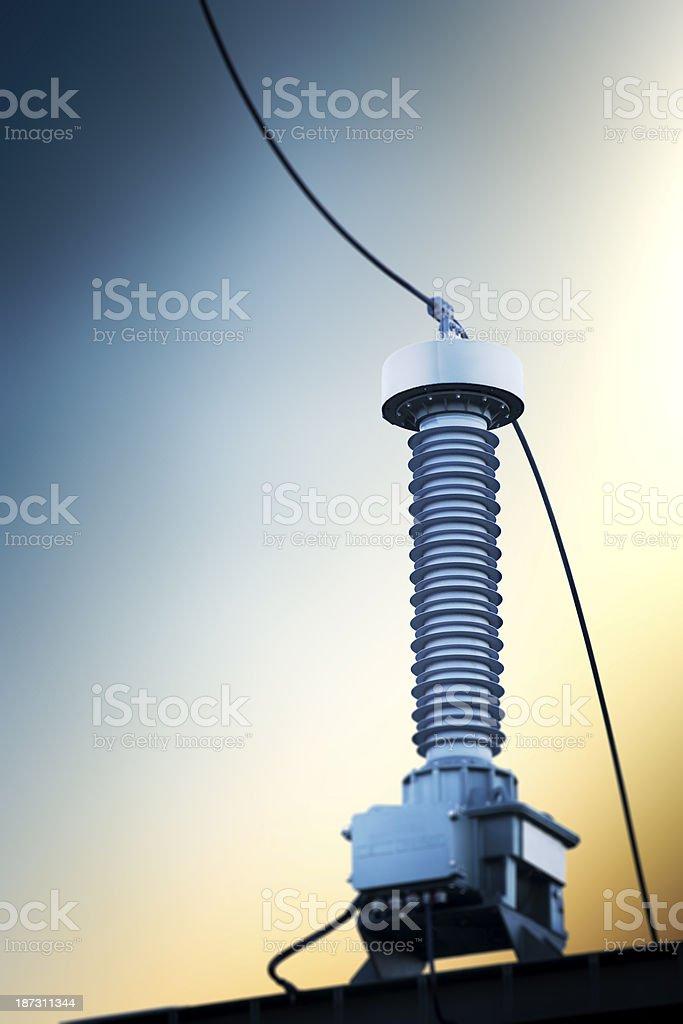 High voltage isolator close up stock photo