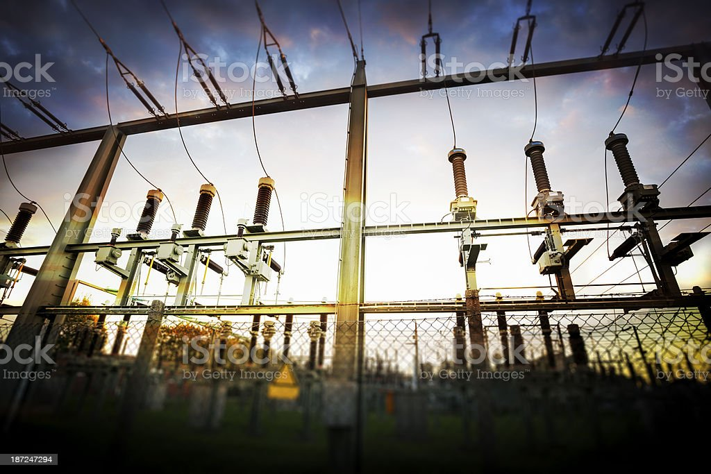 High voltage isolators and cable royalty-free stock photo