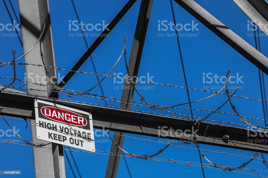 High Voltage Keep Out sign stock photo