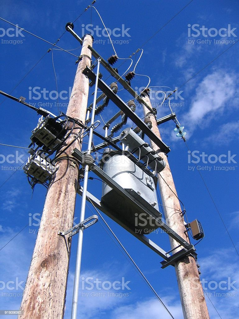 High voltage mast royalty-free stock photo