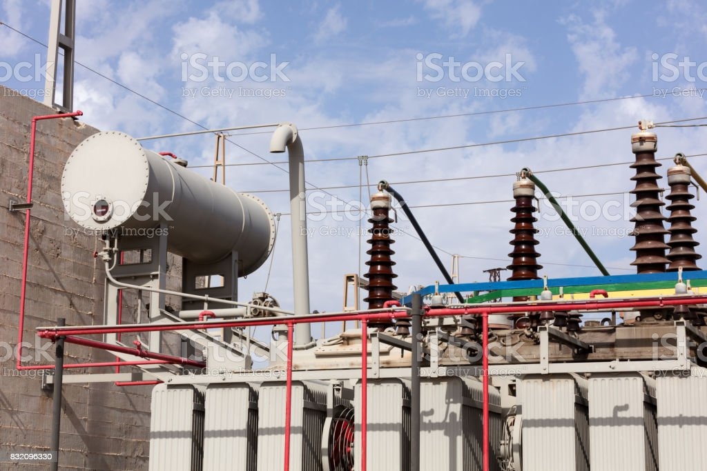 high voltage oil transformer stock photo