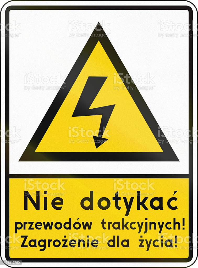 High Voltage On Level Crossing In Poland stock photo
