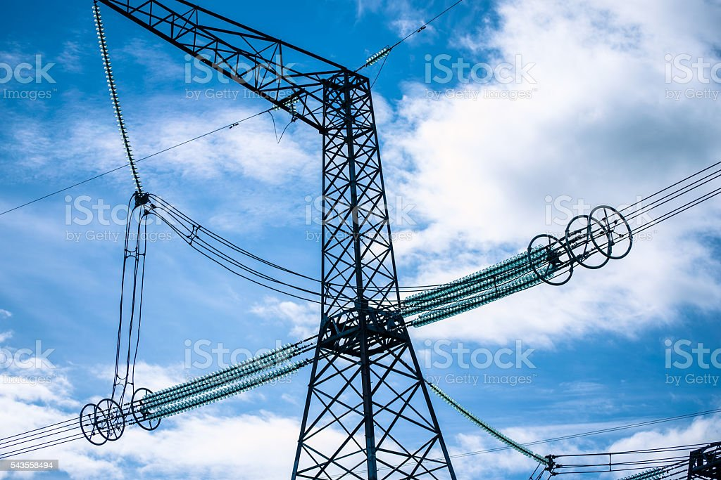 High voltage pillars stock photo