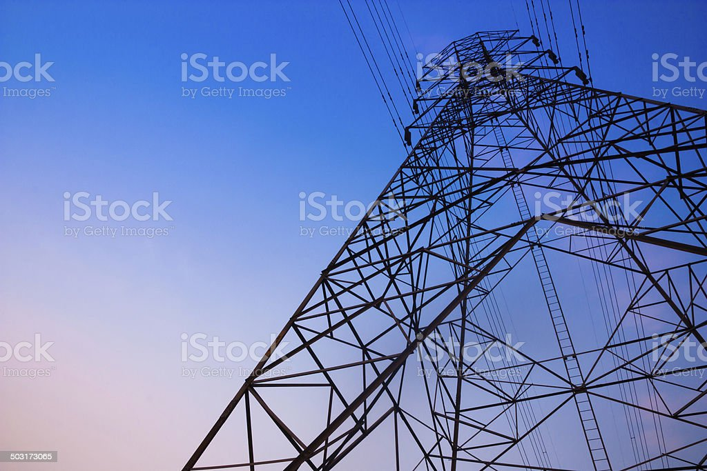 High voltage post and sky in twilight time stock photo