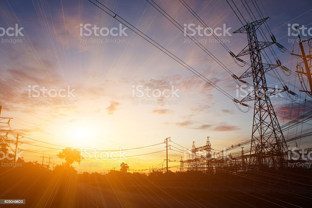 high voltage post, High-voltage tower stock photo