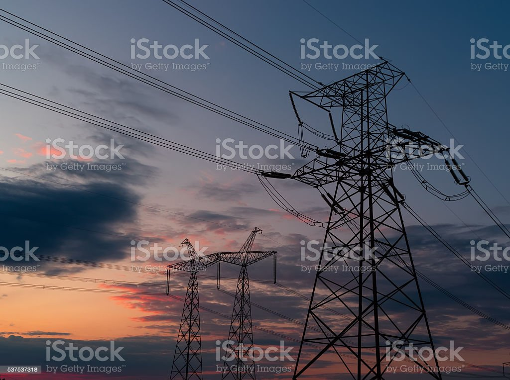 High voltage post or High voltage tower. stock photo