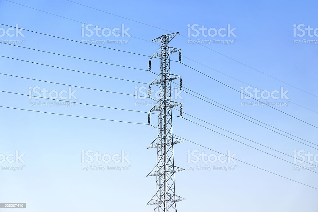 High voltage post or power transmission line tower stock photo