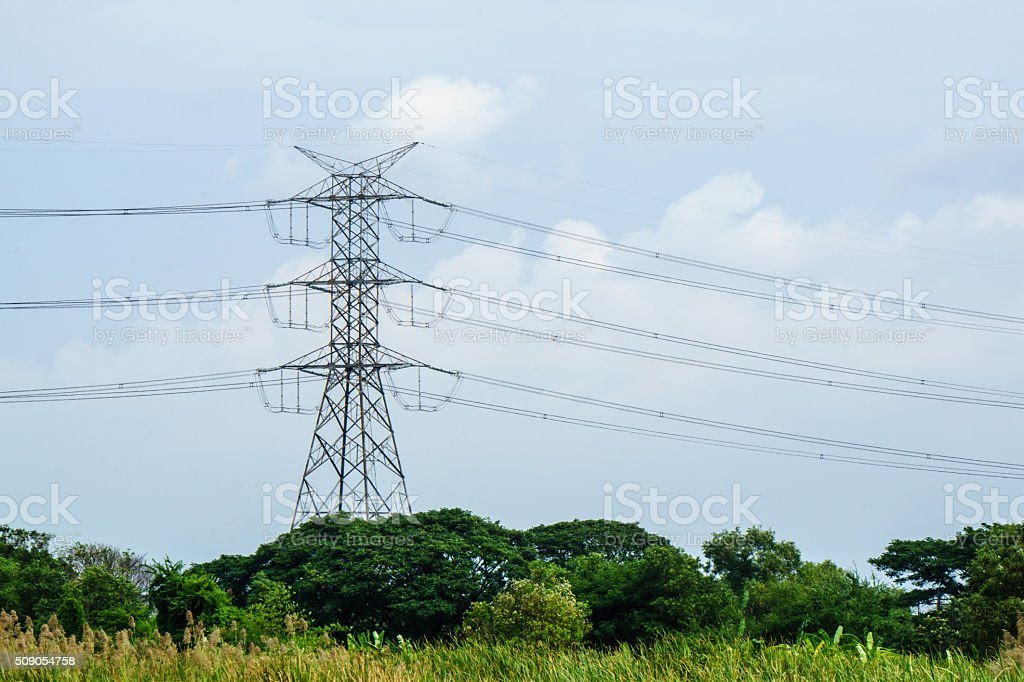 High voltage post.High-voltage tower. stock photo