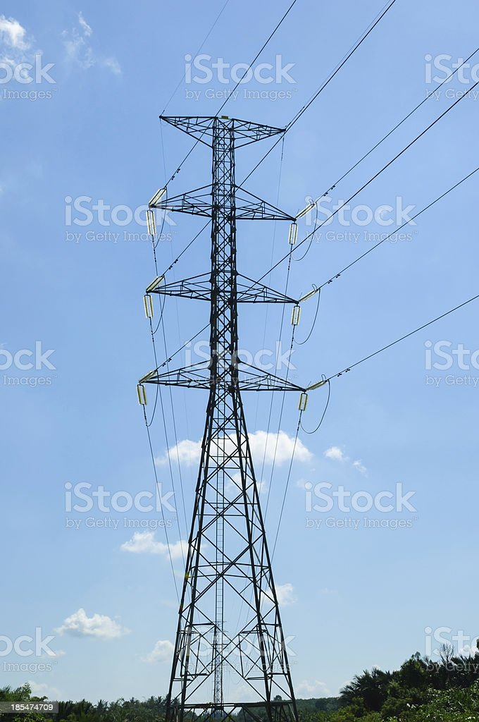 high voltage post.High-voltage tower sky background royalty-free stock photo