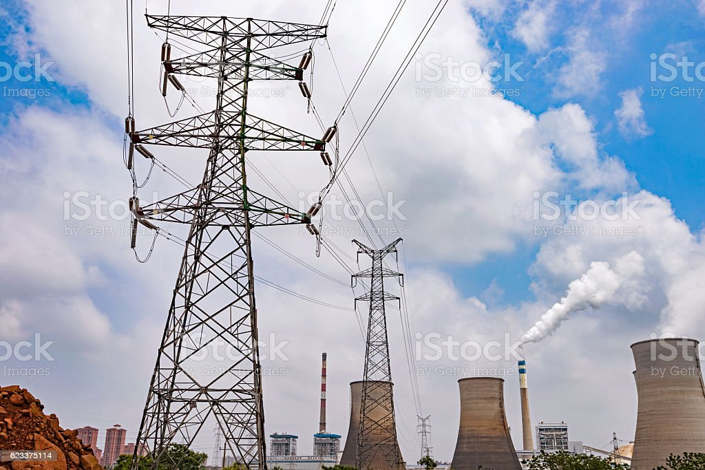 high voltage post.High-voltage tower sky background stock photo