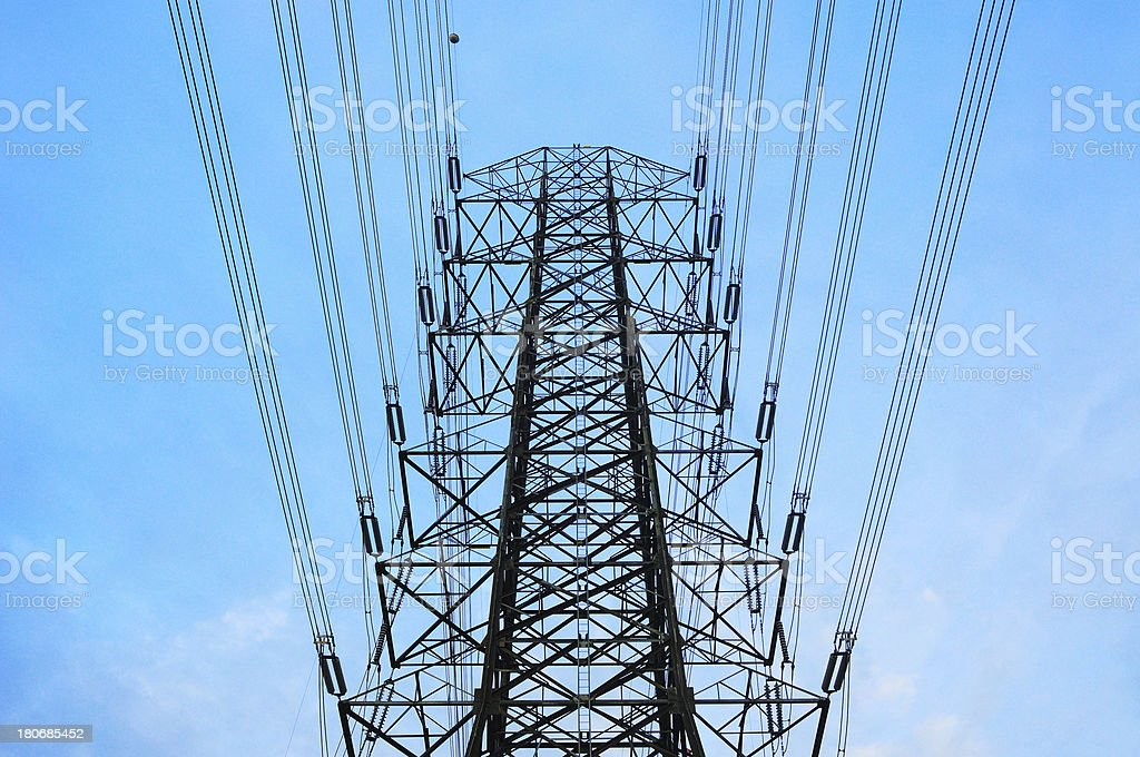 High voltage power electricity tower royalty-free stock photo