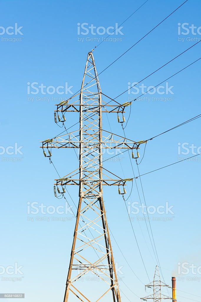 High voltage power line. stock photo
