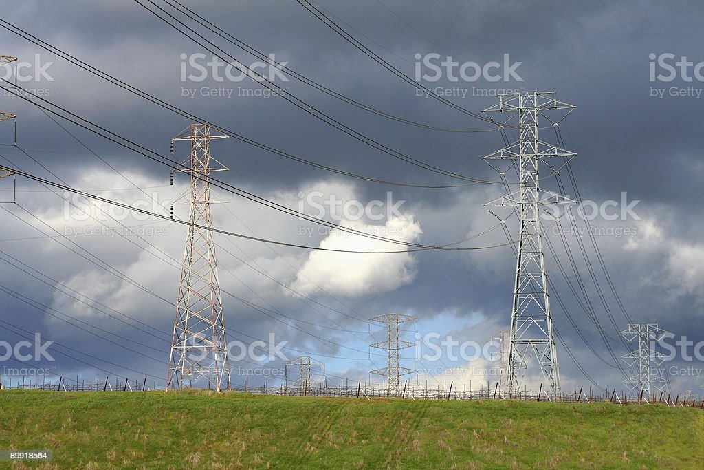 High voltage power lines and towers royalty-free stock photo