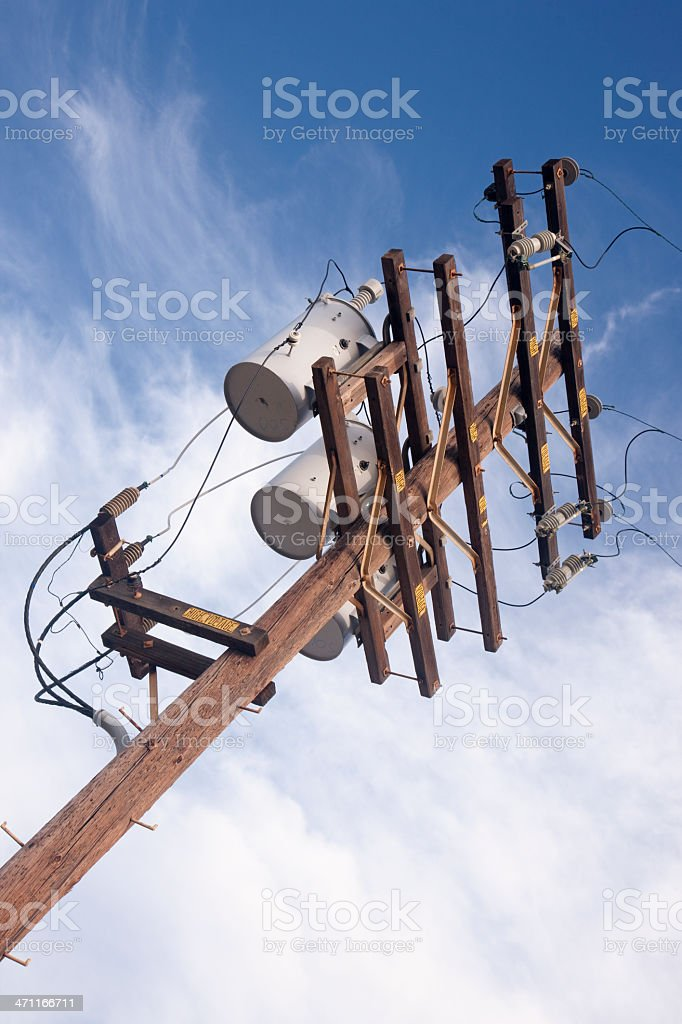 High Voltage Power Pole, Electricity, Overhead Wires, Energy Transmission stock photo