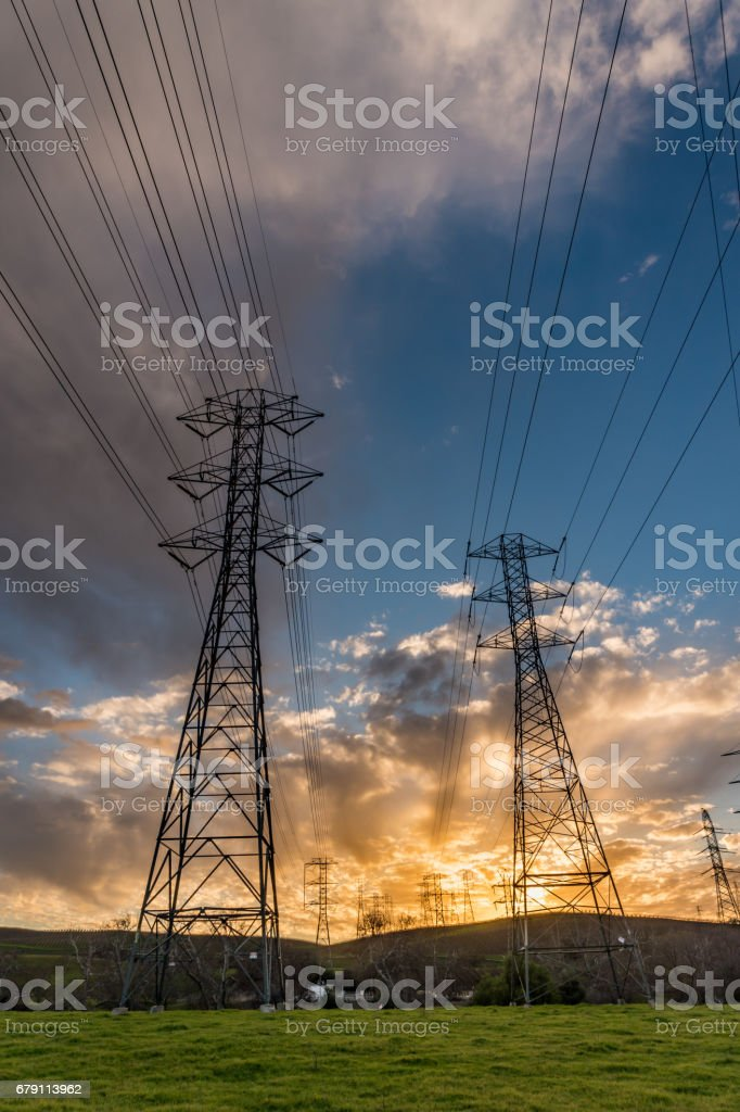 High Voltage Power towers stock photo