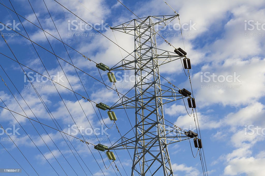 High voltage power transmission lines and pylon royalty-free stock photo