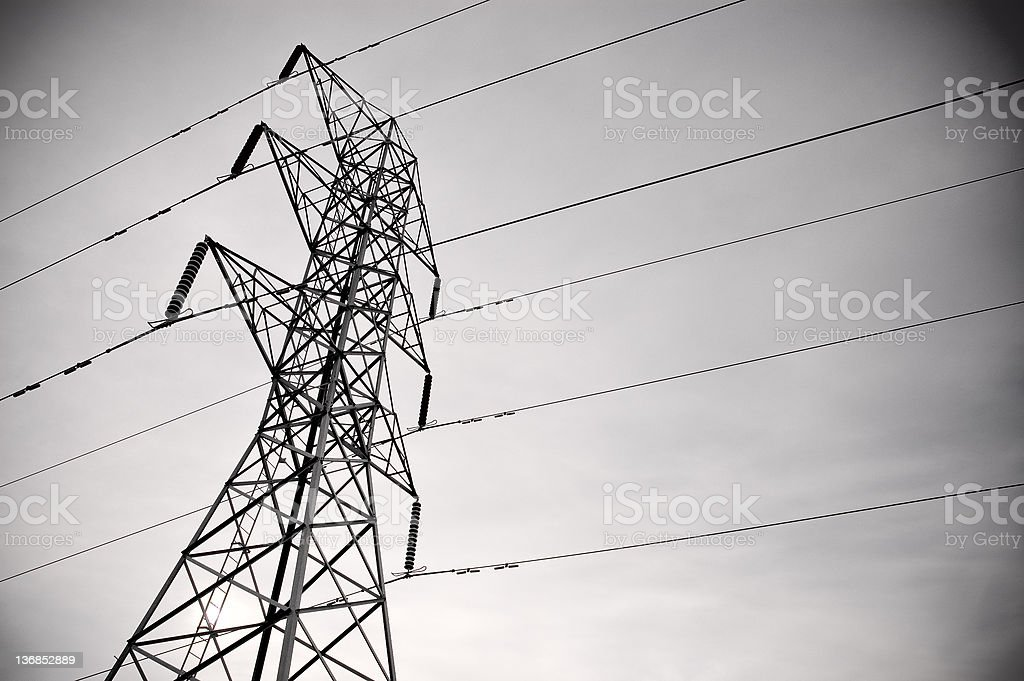 High Voltage Powerlines royalty-free stock photo
