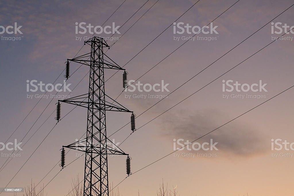 high voltage pylon stock photo