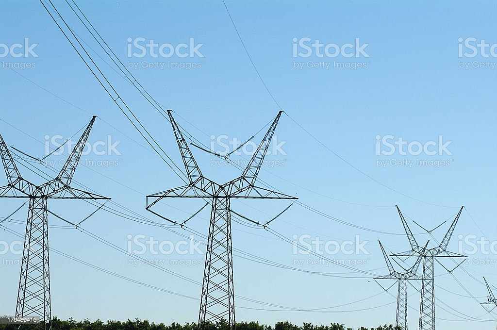 High voltage pylons royalty-free stock photo