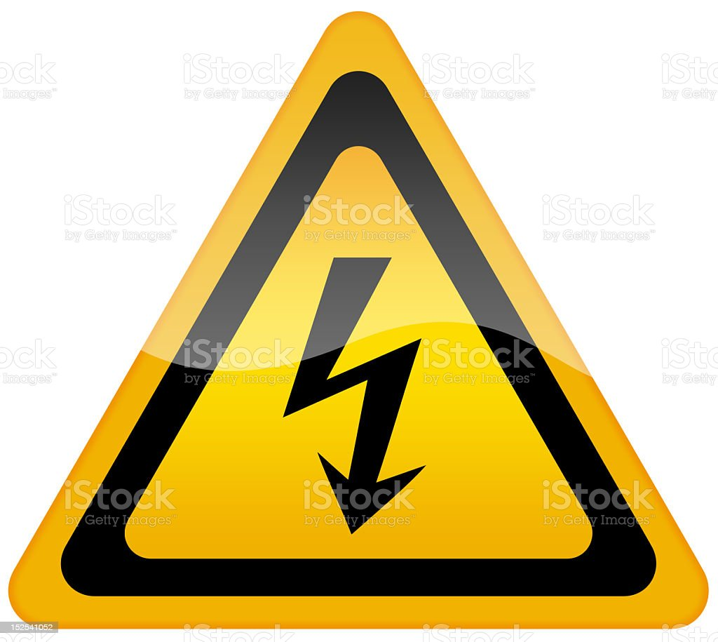High voltage sign in yellow and black stock photo