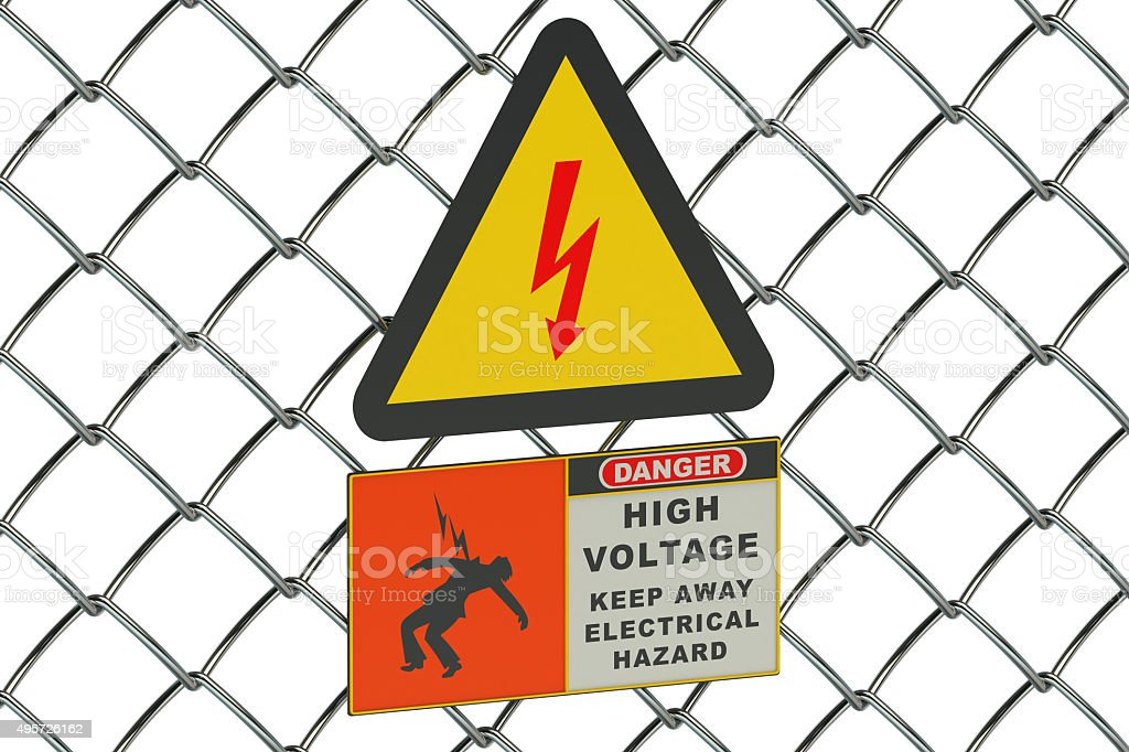 High Voltage sign on guard metallic mesh stock photo