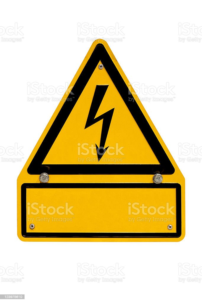 High Voltage Sign with copyspace on white royalty-free stock photo