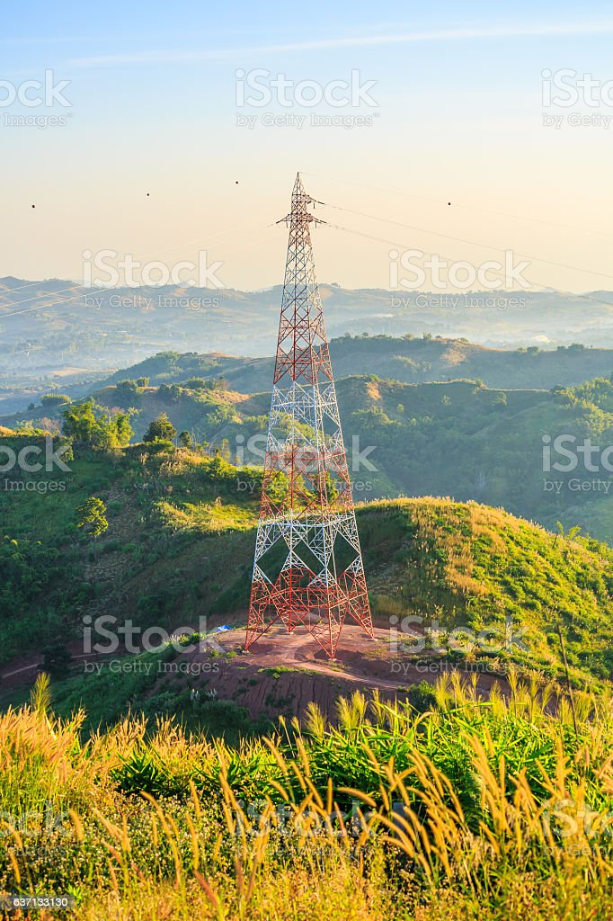 High voltage steel structure or High voltage tower stock photo
