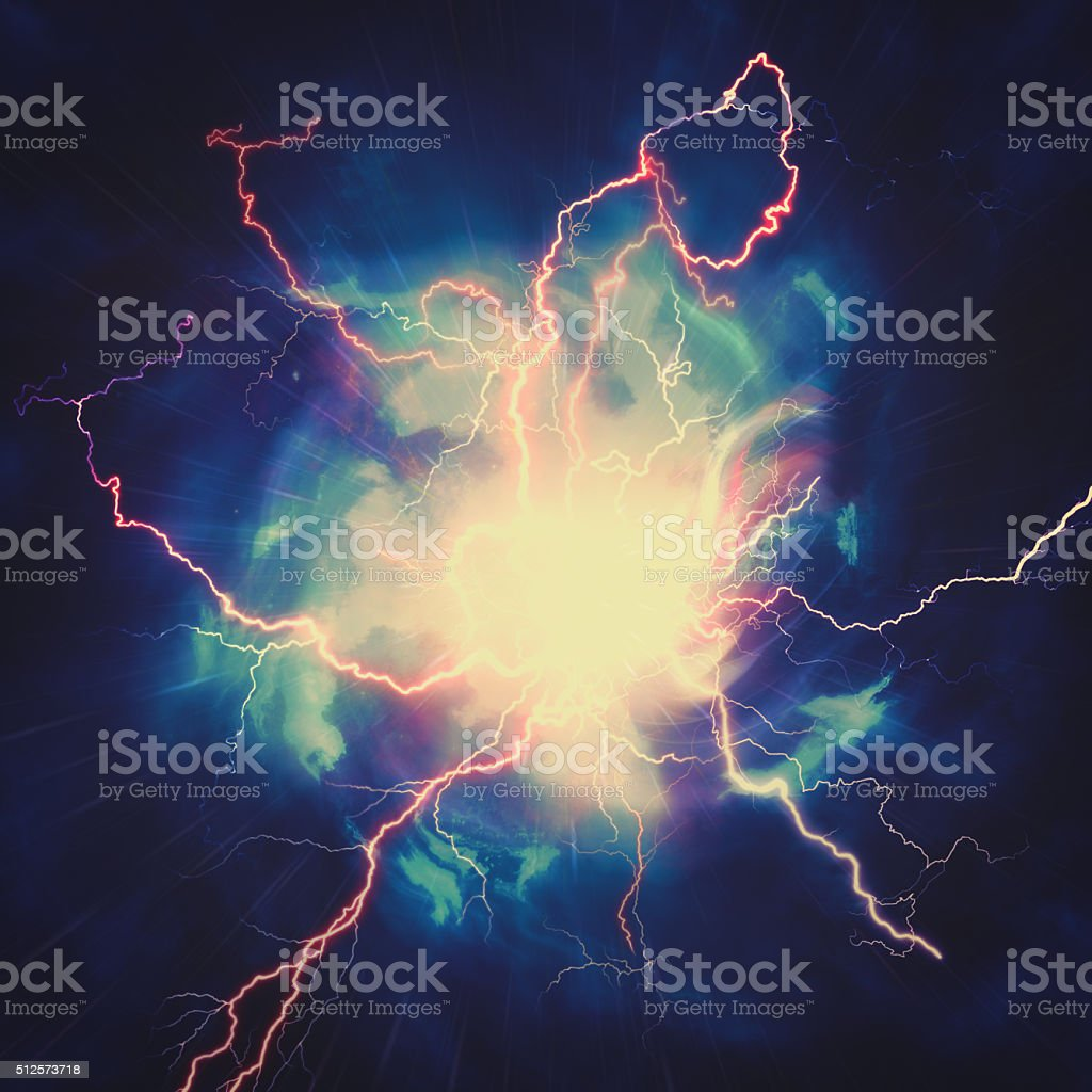High voltage strike, abstract technology and science backgrounds stock photo
